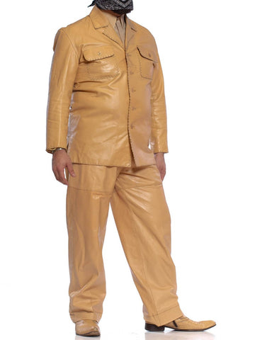1970'S Beige Men's Leather Suit & Silk Shirt With Boots (Size 12) Set