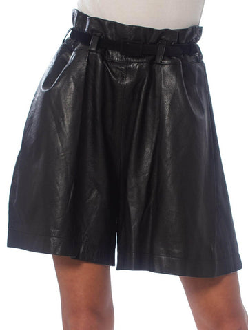 1990'S Issey Miyake Black Leather Pleated Paper Bag Waist Shorts