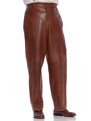 1980'S GIANNI VERSACE Brown Leather Men's High Waist Pants