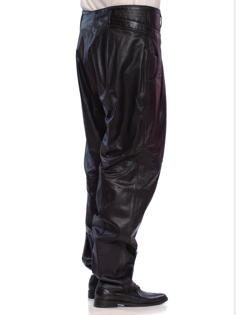 1980'S CLAUDE MONTANA Style Black Leather Men's New Wave High-Waisted Pleated Pants