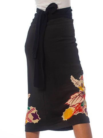 1970S Black Red Floral Wrap Skirt Made From Hand Painted Japanese Kimono Silk
