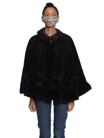 Victorian Black Silk & Cotton Velvet 1890'S Jet Beaded Cape