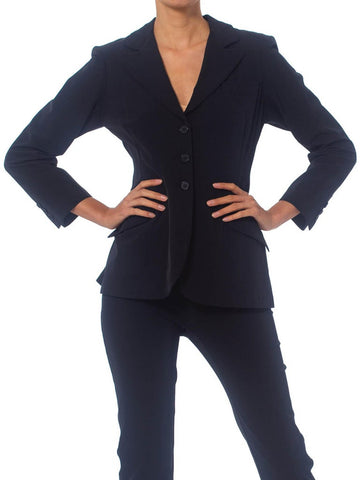 1990'S NORMA KAMALI Black Poly/Lycra Classic Peak Lapel  Pant Suit From Kamali's Personal Archive