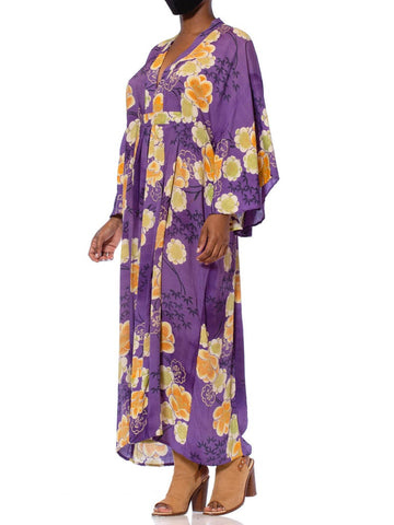 MORPHEW COLLECTION Purple Silk Golden Floral Kaftan Made From A 1940'S Japanese Kimono