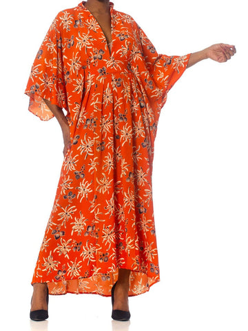 Morphew Collection Orange Floral Silk Kaftan Made From Japanese Kimonos