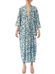 1950'S Morphew Collection Kaftan In Blue And White Printed Japanese Kimono Silk