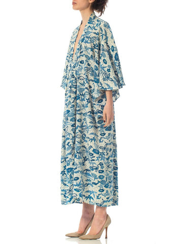 MORPHEW COLLECTION Blue & White Japanese Kimono Silk Kaftan