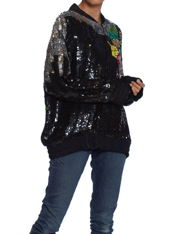 1980'S Black Silk Beaded Sequin Oversized Love-Mobile Bomber Jacket
