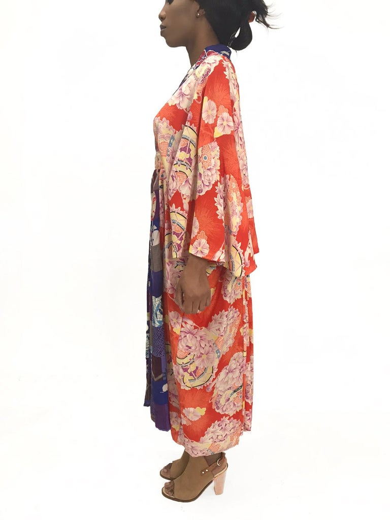 MORPHEW COLLECTION Orange Patchwork Silk Kaftan Made From Japanese Kimonos
