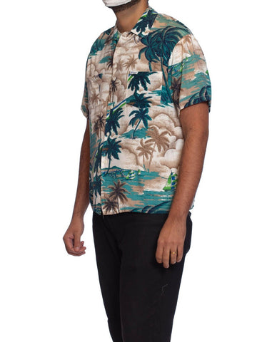 1970'S Tropical Rayon Men's 40'S Style Palm Tree Print Shirt