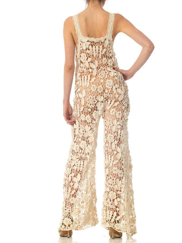 1970'S Beige Hand Done Cotton Crochet Lace Boho Jumpsuit