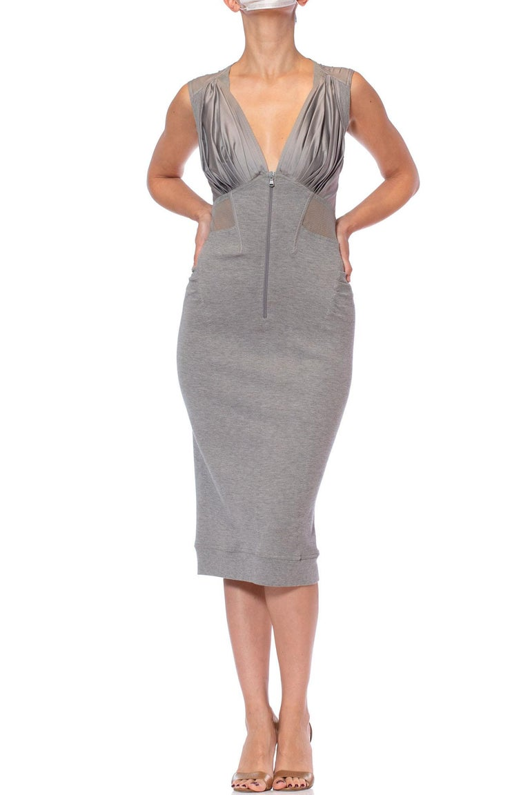2000S DONNA KARAN Heather Grey Cotton, Rayon & Spandex Knit Jersey Dress With Net And Boning