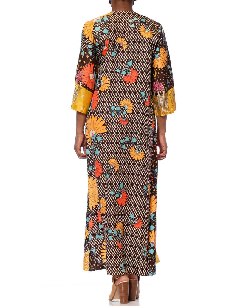 1970'S Multicolor Acetate Psychedelic Print Floral Kaftan House Dress With Attached Kimono