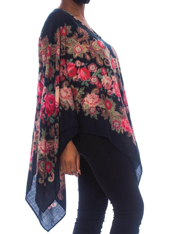 Morphew Collection Black Boho Floral & Paisley Scarf Poncho Top