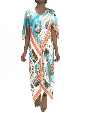 Morphew Collection Aqua  & Peach Mediterranean Print Bias Cut Kaftan Dress Made From 1950'S Scarves