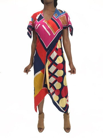 MORPHEW COLLECTION Pink & Blue Silk Poly Bias Cut Scarf Kaftan Dress Made From 1970'S Geometric Scarves