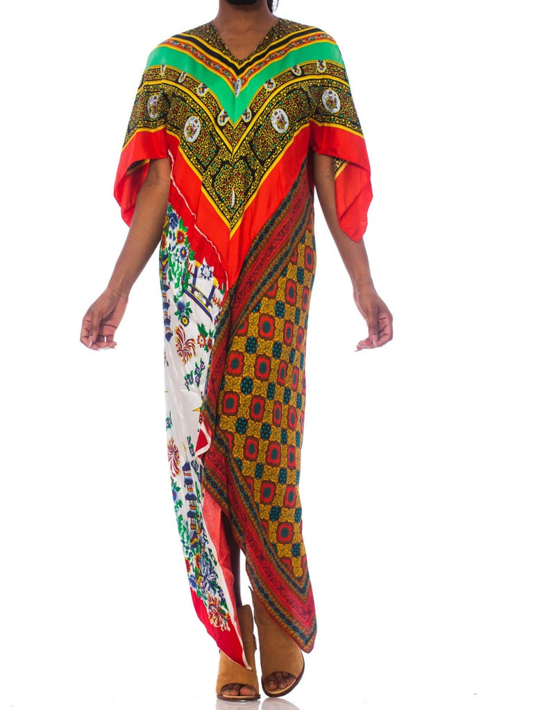 MORPHEW COLLECTION Rayon & Silk Bias Cut Scarf Kaftan Dress With 1940'S 1970'S Chinese Prints