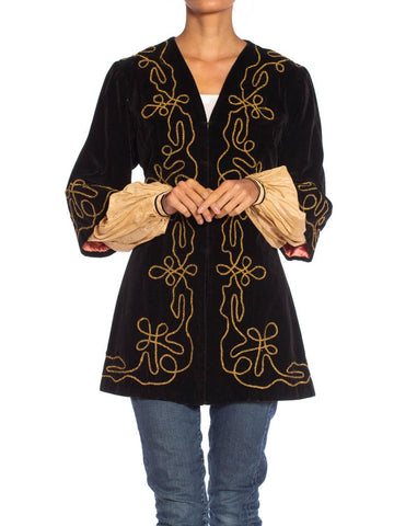 1900S Antique Black Cotton Velvet Medieval Theatrical Costume Jacket With Gold Braid Details