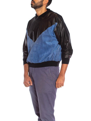 1980S Black & Blue Suede Leather Men's Pullover Shirt