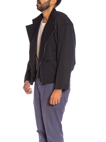 1980S MARITHE FRANCOIS GIRBAUD Grey Rayon & Wool Gabardine Men's Gaultier Style Layered Bomber Jacket