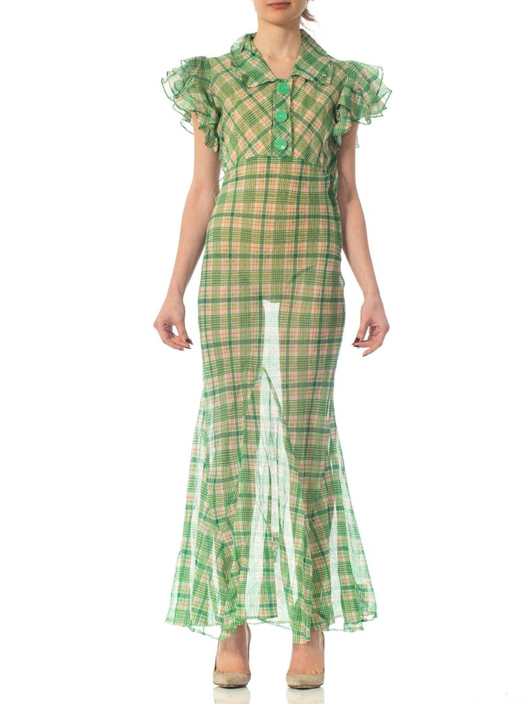 1930S Green Sheer Cotton Organdy Plaid Ruffled Dress