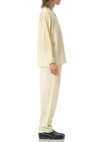 1920S Ivory Cotton Rare Antique Mens Pajamas