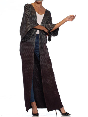 MORPHEW COLLECTION Black & Grey Silk Jaquard Ombré Dip Dyed Kimono With Distressed Hem Lace Detail