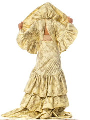 1930S Morphew Collection Creme Silk Printed Asian Toile Dress