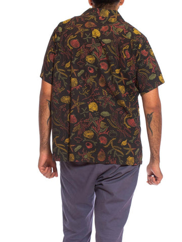 1950S Black Tropical Cotton Atomic Seashell Printed Mens Shirt