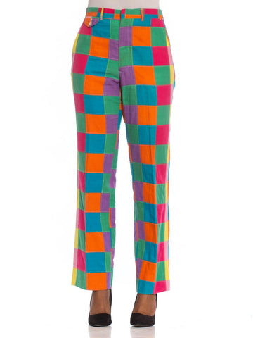 1960S Multicolor Patchwork Cotton Mens Pants In Super Bright Colors