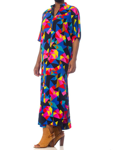 1970S Printed Multicolor Cotton Barkcloth Geometric  Kaftan