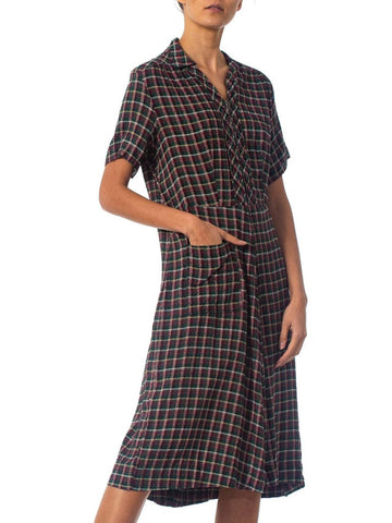 1940S Purple, Green & White Plaid Cotton Zip Front Dress