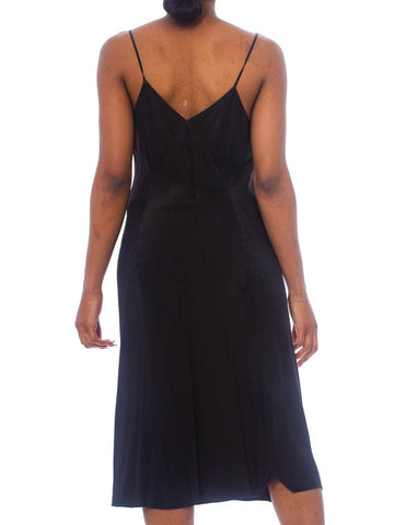 1930S Black Bias Cut Rayon Rare Minimal Slip Dress No Side Seams