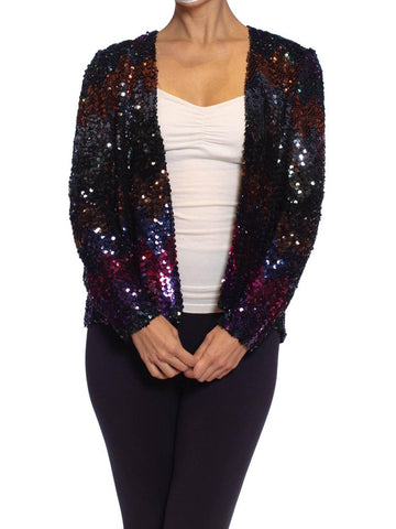 1970S Jeweltone Sequined Polyester Disco Jacket