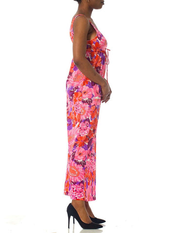1970S Pink & Purple Nylon Jersey Floral Printed Drawstring Empire Waist Slip Dress