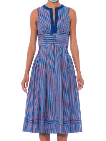 1950S Blue Striped Cotton Fit & Flare Rockabilly Dress