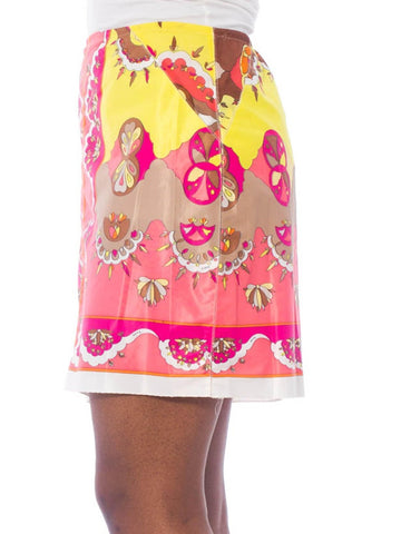 1960S EMILIO PUCCI Pink Psychedelic Polyester Jersey Slip Skirt