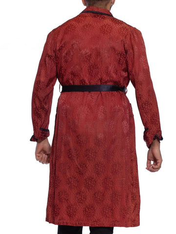 1920S Maroon Silk Jaquard Antique Mens Robe