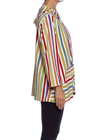 1960S Rainbow Striped Cotton Blend Terry Cloth Zip Front Hoodie Jacket