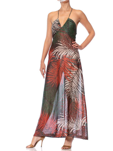 1970S Tropical Printed Poly Lurex Jersey Halter Neck Disco Gown