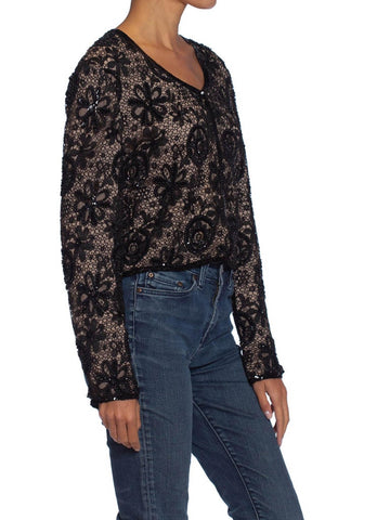 1990S ARMANI Black Lace & Silk Chiffon Beaded Dinner Jacket