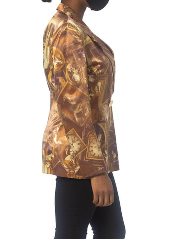 1990S Beige Rayon Satin Jacket Printed With Antique Paintings And Clocks