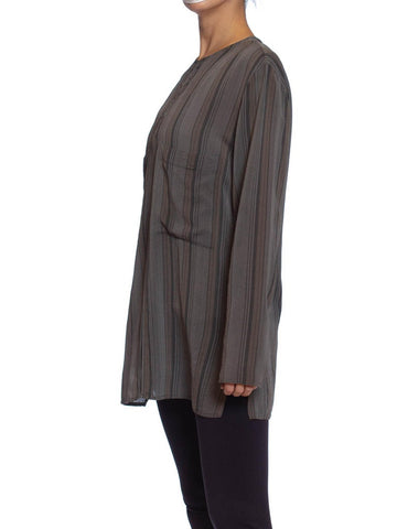 1980S Black & Grey Silk Striped Minimalist Shirt With Pockjets