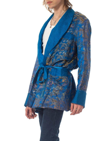 1940S Blue & Gold Silk Brocade Mens Smoking Jacket