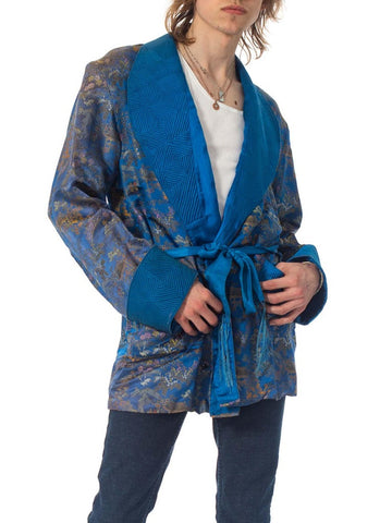 1940S Blue & Gold Silk Brocade Mens Smoking Jacket With Belt
