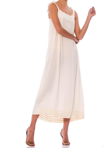 1970S Ivory Embroidered & Pleated  Silk 