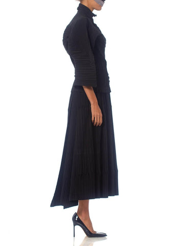 1990S Issey Miyake Black Pleated Poly Blend Jacket & Skirt Ensemble