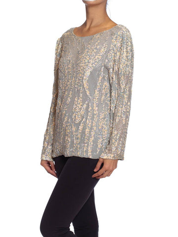 1980S OLEG CASSINI Grey Beaded Silk Chiffon Oversized Long Sleeve Blouse
