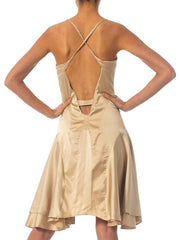 2000S Roberto Cavalli Gold Silk Charmeuse Bra Top Dress With Cut Outs