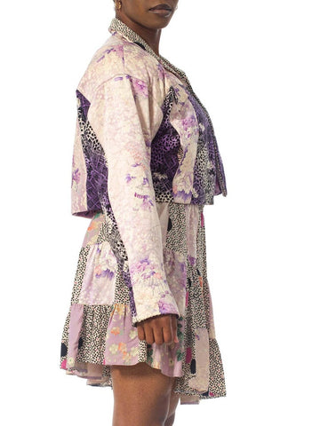 1980S Purple Printed Skirt, Top & Jacket Ensemble Made From Japanese Kimono Silk